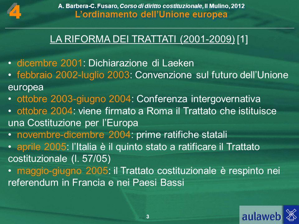 LA RIFORMA DEI TRATTATI (2001-2009) [1]